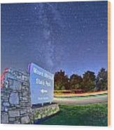 Midnight At Mount Mitchell Entrance Sign Wood Print