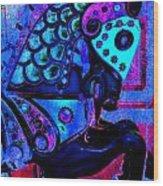 Midnight Blue Carousel Horse Wood Print