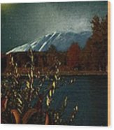 Midnight Blue In The Mountains Wood Print