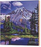 Midnight Blue Lake Wood Print by David Lloyd Glover