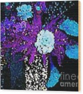 Midnight Callas And Orchids Abstract Wood Print