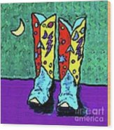 Midnight Cowboy Boots Wood Print