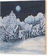 Midnight Frost Wood Print