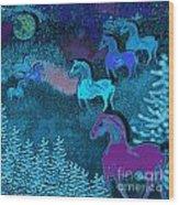 Midnight Horses Wood Print