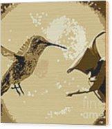 Midnight Hummingbird Wood Print
