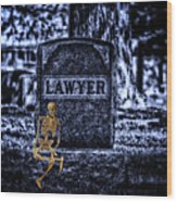 Midnight In The Graveyard With A Lawyer Wood Print