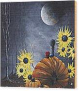 Midnight In The Pumpkin Patch By Shawna Erback Wood Print