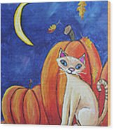 Midnight In The Pumpkin Patch Wood Print