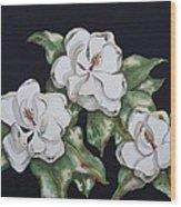 Midnight Magnolia Wood Print