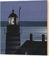 Midnight Moonlight On West Quoddy Head Lighthouse Wood Print