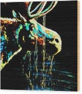 Midnight Moose Drool  Wood Print by Teshia Art
