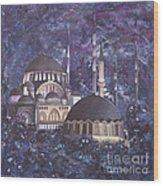 Midnight Mosque Wood Print