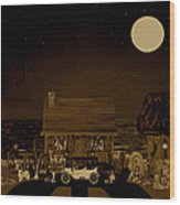 Midnight Near The Sea In Sepia Color Wood Print