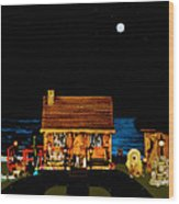 Log Cabin Scene Near The Ocean At Midnight Wood Print by Leslie Crotty