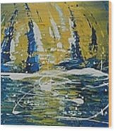 Midnight Sail Wood Print