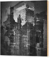Midtown Black And White Wood Print