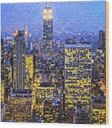 Midtown Manhattan And Empire State Building Wood Print