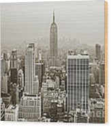 Midtown Manhattan With Empire State Building Wood Print