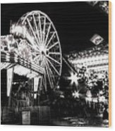 Midway Attractions In Black And White Wood Print