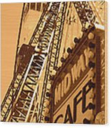 Midway Cafe Sepia Wood Print