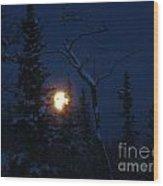 Midwinter Moonrise Wood Print