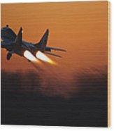 Mig-29 At Sunset Wood Print