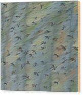 Migratory Geese Moon April Wood Print by Ethel Vrana