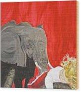 Mika And Elephant Wood Print