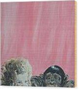 Mika And Monkey Wood Print