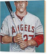 Mike Trout - La Angels Of Anaheim Wood Print by Michael  Pattison