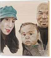 Mike Tyson And Family Altered Version From The One I Gave Him Wood Print by Jim Fitzpatrick