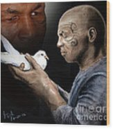 Mike Tyson And Pigeon II Wood Print by Jim Fitzpatrick