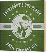 Mike Tyson - Green Wood Print