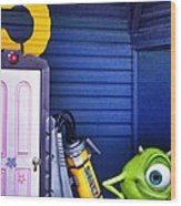Mike With Boo's Door - Monsters Inc. In Disneyland Paris Wood Print