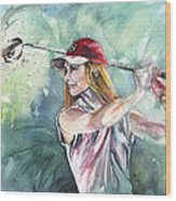 Miki Self Portrait Golfing Wood Print
