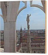 Milan Cathedral Rooftop View Wood Print
