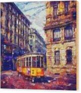 Milan Tram Wood Print