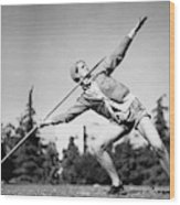 Mildred Babe Didrikson Holding A Javelin Wood Print