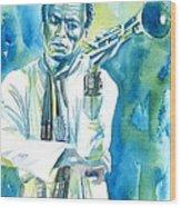 Miles Davis Watercolor Portrait.3 Wood Print