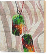 Military Art Dog Tags - Honor 2 - By Sharon Cummings Wood Print