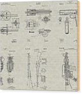 Military Equipment Patent Collection Wood Print