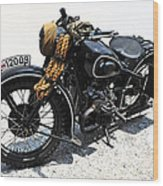 Military Style Bmw Motorcycle Wood Print