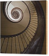 Milk And Chocolate Staircase Wood Print