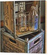 Milk Bottles And Crates Wood Print