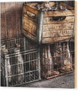 Milkman - Bottles In Boxes Wood Print