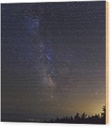 Milky Way And Light Pollution Wood Print