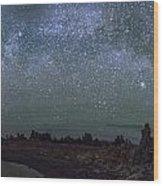 Milky Way At Mono Lake Wood Print
