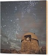 Milky Way Clouds Over The Mount Evans Observatory Wood Print by Mike Berenson
