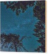Milky Way Framed Trees Wood Print
