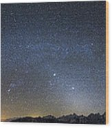 Milky Way Galaxy Over Jackson Hole Wood Print